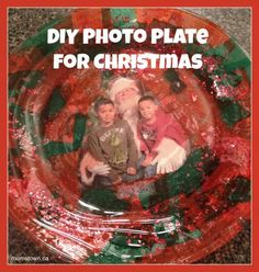 DIY Christmas Photo Plate- using decoupage technique (easy but a little messy) you can create this masterpiece for a gift or for Santa's cookies! #Christmas #DIY #craft #momstown