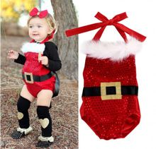 Cute Newborn Baby Girls Christmas Waistband Cotton Long Sleeve Bodysuit Jumpsuit Outfit Clothes(China (Mainland))