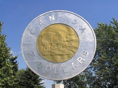 Giant Sculpture Giant Toonie, Campbellford,ON Canadian Coins, I Am Canadian, Canadian Rockies, Canada Eh, Toronto Canada, Montreal Canada, Roadside Attractions, Ontario Attractions, Statues