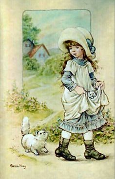 Niña con gato - Sarah Kay vintage - Almost Peewee our little dog. Sarah Key, Holly Hobbie, Vintage Crafts, Cute Illustration, Vintage Children, Clipart, Cute Art, Cute Pictures, Childhood