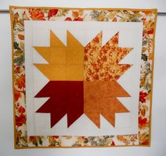 Fall Leaves Quilted Table Runner Wall by ForgetMeNotQuilteds