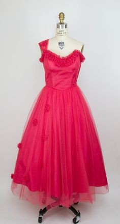 1950s Dress // Bright Coral Tulle One Strap by GarbOhVintage