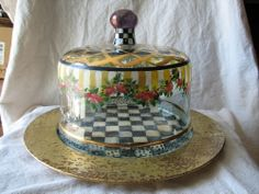 Vtg Hand Painted MACKENZIE CHILDS COURTLY CHECK Glass Dome & Cake Plate Charger