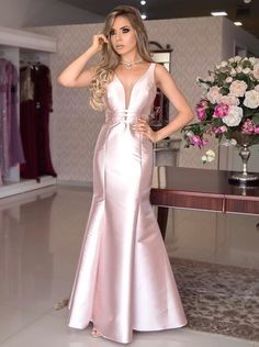 pink prom dress , v neck satin prom gown , mermaid dress Pretty Prom Dresses, V Neck Prom Dresses, Pink Prom Dresses, Mermaid Dresses, Satin Dresses, Sexy Dresses, Beautiful Dresses, Bridesmaid Dresses, Formal Dresses