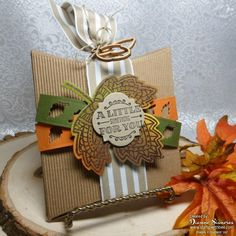 by Diane: Lighthearted Leaves, A Little Something, Kraft Corrugated Paper, Square Pillow Box Thinlits, Leaflets framelits, & more - all from Stampin' Up!