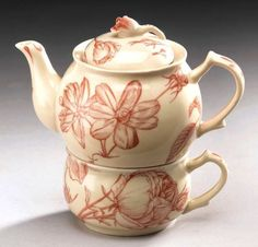 Tea For One Teapot Red On Cream Floral Porcelain China