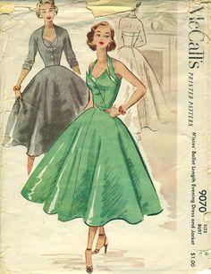 McCall's 9070 ©1952 Evening Dress and Jacket halter full skirt circle belt grey black green satin cocktail party 50s era glam elegance