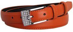 Mannice Womens 2.3cm Fashion Diamante Metal Buckle Casual Genuine Leather Belt Brown