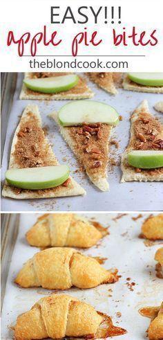 Apple pie bites / #Apple #Bites #Pie Apple Bite, Apple Pie Bites, Mini Apple, Apple Hand Pies, Dessert Simple, Dessert Healthy, Healthy Meals, Camping Desserts, Easy Desserts