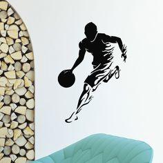 Flaming Basketball Player Vinyl Wall Art Decal Sticker