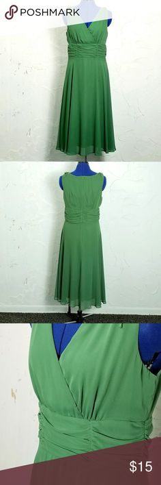 """Dress Barn Sage Green Cocktail Dress Just Dry Cleaned Excellent used condition.  No stains or tears.  Color is a little more sage green than appears in photos.   Cross V pleated bust line Rouching at waist Hidden zipper up back Full skirt Fully lined   Measures Bust 38"""" (across armpit) Waist 33"""" Length 47"""" Dress Barn Dresses"""