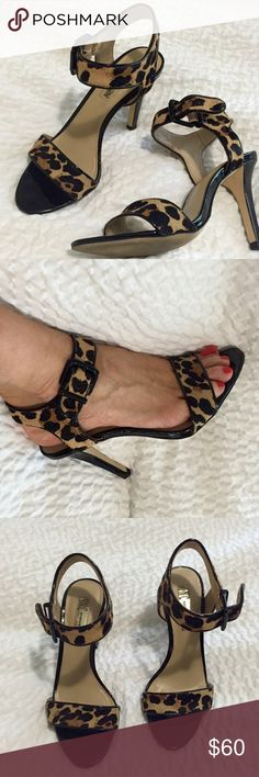 Leopard Calf hair ankle strap sandals Beautiful leopard calf hair ankle strap INC sandals. Worn once. Size 5.5. 3 inch heel. Comes with box. INC International Concepts Shoes Heels