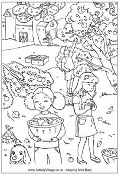 Basket of Apples Farm Stand Coloring Sheet free printable for