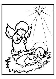 Image de l'enfant Jésus avec l'ange gardien et l'étoile à Noël, à colorier