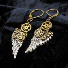 Mechanical Flight - Steampunk Earrings, Angel Wing Earring, Gear Jewelry…