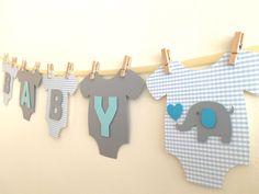 """Baby One-Piece Bodysuit """"BABY BOY"""" Elephant Baby Shower Banner: Blue and Gray Elephant Baby Shower Decoration"""