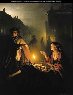 The apple seller - Petrus Van Schendel - WikiGallery.org, the ...