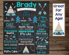 Boy's tribal first birthday chalkboard, teepee, aztec, wild one, camping…