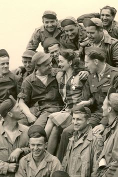 World War II Pin-up girl Margie Stewart visiting troops in Reims, France in June 1945