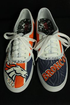 Custom Hand Painted Denver Broncos Laced by TouchOfJoyDesigns, $68.00
