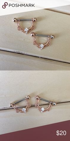 Rose Gold Lace Nipple Rings Brand New! 14 Gauge Surgical Steel. Includes both. Absolutely no trades. Check out my all my items!  Thanks for looking ☺️ If you have any questions leave a comment below.  Nipple Ring Shield Nipples Piercing 14G Surgical Steel Body Jewelry New Jewelry Rings