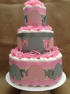 Modern Pink and Gray Elephant Diaper Cake for a Baby Shower Centerpiece Baby Shower Diapers, Baby Shower Fun, Baby Shower Gender Reveal, Girl Shower, Baby Shower Cakes, Baby Shower Parties, Baby Shower Themes, Baby Shower Gifts, Baby Gifts
