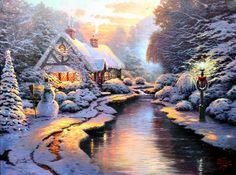 thomas kinkade christmas village | Christmas Evening