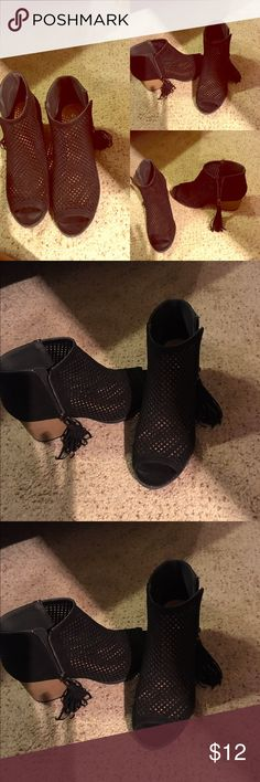 Black Cutout Booties with Tassels Size 9 $12 Black Cutout Tassel Booties!! Great for Jeans, Leggings or dresses! Only worn once just a little big for me. Size 9 $12 Shoes Ankle Boots & Booties