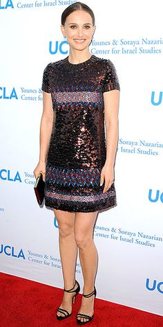 Last Night's Look: Love It or Leave It? | NATALIE PORTMAN  | in a multicolor mini dress with a whole lot of sparkle and strappy shoes at UCLA Younes & Soraya Nazarian Center for Israel Studies' 5th Annual Gala in Beverly Hills.