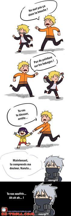 Tu vas souffrir Naruto ! #Kakashi #Iruka                              …