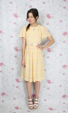 Japanese vintage SUMMER DRESS yellow pink floral by #renewvintage, $54.00