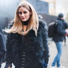 Olivia Palermo in a navy blue faux fur jacket is life