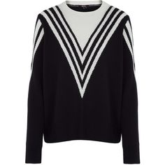 Raoul Black and White Stripe Detail Oversize Jumper (6.388.985 VND) ❤ liked on Polyvore featuring tops, sweaters, oversized jumper, graphic tops, black and white sweater, long sleeve sweaters and round neck sweater