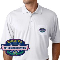 Vietnam War 50th Commemoration Performance Pocket Polo Shirt: These Polos will keep you cool as they are performance wicking, stain-resistant & offer UV Protection. The Imagery will last a lifetime as it will never crack/peel. Designed, Printed & Sublimated in the USA -Fabric Imported.