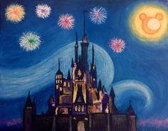 Disney Castle Starry Night Original Painting by JPK by JPKartwork Disney Castle Drawing, Disney Drawings, Cartoon Drawings, Art Drawings, Disney Canvas Paintings, Disney Canvas Art, Easy Paintings, Starry Night Original, Stitch Disney