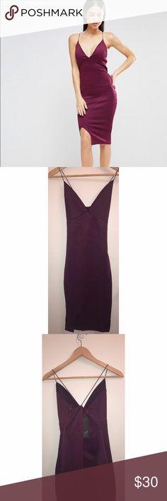 A/X Asymmetrical Wrap Bodycon Dress New A/X Plum Bodycon Dress. Never worn, perfectly intact. A/X Armani Exchange Dresses Midi