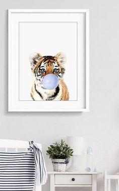 Tiger cub blowing a blue bubble gum. Animal Wall Art, Baby Shower Gift, Kids Art, Nursery Animal Decor, Safari Wall Prints, Baby Animals