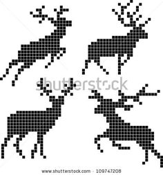 Vector Pixel Silhouettes Of Deers Royalty Free Cliparts, Vectors, And Stock Illustration. Image Silhouettes Of Deers Royalty Free Cliparts, Vectors, And Stock Illustration. Cross Stitch Charts, Cross Stitch Designs, Cross Stitch Patterns, Loom Beading, Beading Patterns, Embroidery Patterns, Filet Crochet, Cross Stitching, Cross Stitch Embroidery