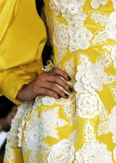 Valentino~details. We're so fond of the lace appliques on this Caribbean color.