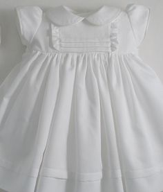 White Swiss Pique Cotton Dress and Bonnet Little Dresses, Little Girl Dresses, Girls Dresses, Flower Girl Dresses, Christening Gowns, Baby Design, Cotton Dresses, Dress Patterns, Baby Dress