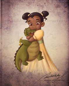 "Child *Tiana and Louis (her pet jazz-playing alligator)*  [Disney movie ""The Princess and The Frog"" (2009)]~[Artistic work by *moonchildinthesky on deviantART  2011]  'h4d'120903"
