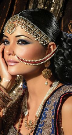 Bridal Beauty, Bridal Makeup, Beautiful Eyes, Beautiful Bride, Indian Look, Asian Bridal, Perfect Woman, Silver Bracelets, Silver Ring