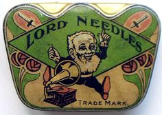 Vintage Package Design, Gramophone Needle Tin c.1920s Art Deco.  Label for sewing needles?