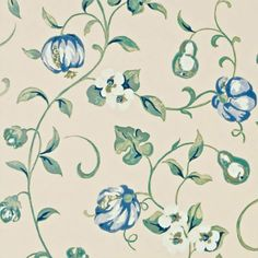 China Blue - DAPGPO101 Pear & Pomegranate A Painter's Garden Sanderson Wallpaper | eBay