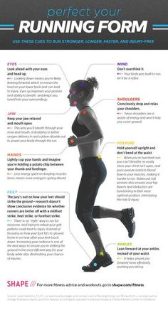 Run Faster, Longer, Stronger, and Injury-Free-  Great graphic, good article. Running form is very important.