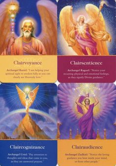 """from Radleigh Valentine: There are four primary clairs. the way we perceive intuitive information. Clairvoyants """"see"""", Clairsentients """"feel"""", Claircognizants """"know"""", and clairaudients """"hear."""" Which way(s) resonate for you? Kids names? Archangel Zadkiel, Chakra, Gabriel, Psychic Development, Psychic Mediums, Angel Cards, Spiritual Awakening, Spiritual Warfare, Spiritual Gifts"""