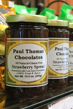 Paul Thomas Chocolates is home to some of the most delicious Strawberry Spread. // Plus, it's all natural & gluten free. You can't go wrong with that! | www.paulthomaschocolates.com
