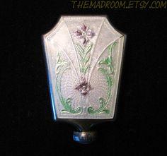 Sterling Silver Guilloche Perfume Bottle.