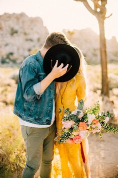 Boho desert engagement session in Joshua Tree