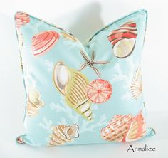 AQUA PILLOW COVER From The Beach Self Welt Fabric On by Annsliee.